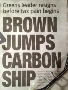 Headlinein Daily Telegraph on Bob Browns retirement